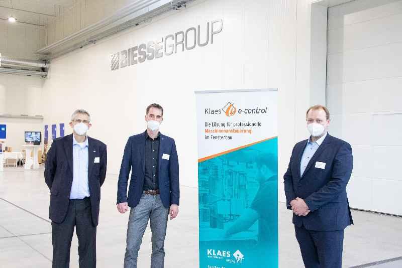 Die beteiligten Partner: Markus Süß (Biesse Deutschland GmbH), Achim Binder (Horst Klaes GmbH & Co. KG), Engelbert Tiefenthaler (Leitz GmbH & Co. KG).