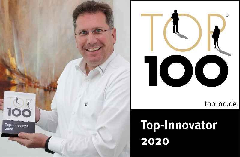 Offiziell eines der hundert innovativsten Unternehmen Deutschlands:Für RAFI nahm Eric Bulach, Leiter des Bereichs Strategie, Produkte und Märkte, die TOP 100-Urkunde entgegen