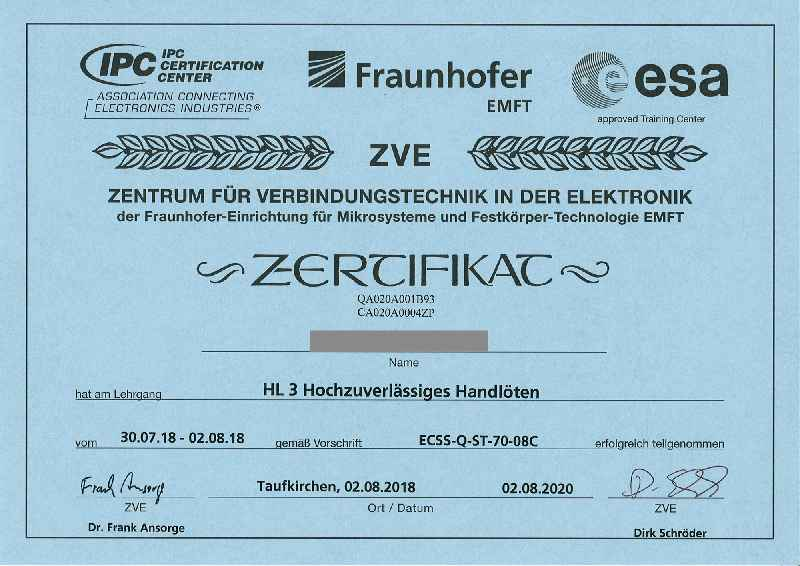 """Inelta-Mitarbeiter wurden auf dem Gebiet """"Hochzuverlässiges Handlöten"""" von der Fraunhofer-Einrichtung für Mikrosysteme und Festkörper-Technologien zertifiziert."""