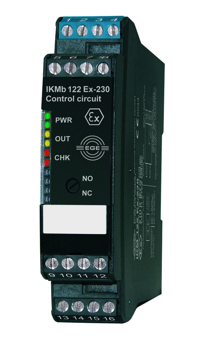 The IECEx-certified signal processing unit for installation outside gas and dust explosion hazard zones connects to intrinsically safe two-wire sensors