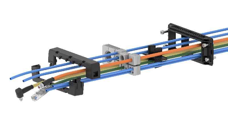 Explosionsgrafik des Systems mit Rahmen, Dichtelementen und Kabeln.