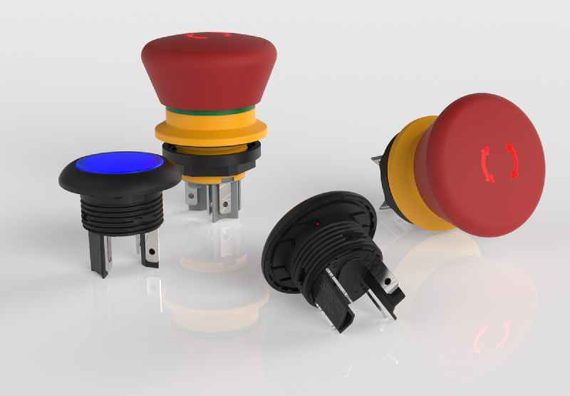 Illustration 1: The LUMOTAST 16 series provides a wide range of compact pushbuttons and Emergency Stop pushbuttons