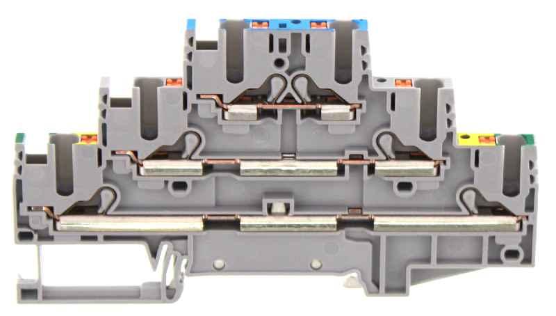 Dreistock-Durchgang- und Schutzleiterklemme PIKD 2,5/PE/L/N GR.