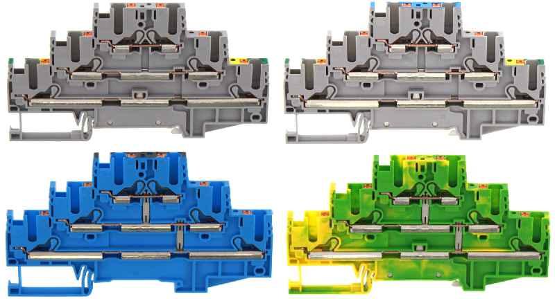 Dreistock-Reihenklemmen PIKD 2,5/PE/L/L, PIKD 2,5/PE/L/N, PIKD 2,5/SV BU und PIKD 2,5/SV/PE GNYE mit Push-in-Anschluss.