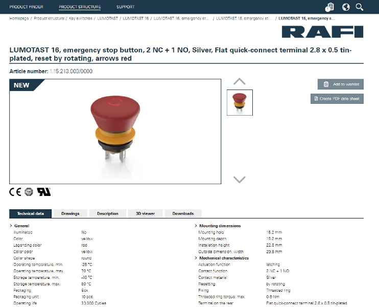The RAFI eCatalog is available online (sample screenshot)