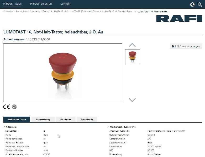 Jetzt online: Der neue eCatalog von RAFI (Beispiel-Screenshot)