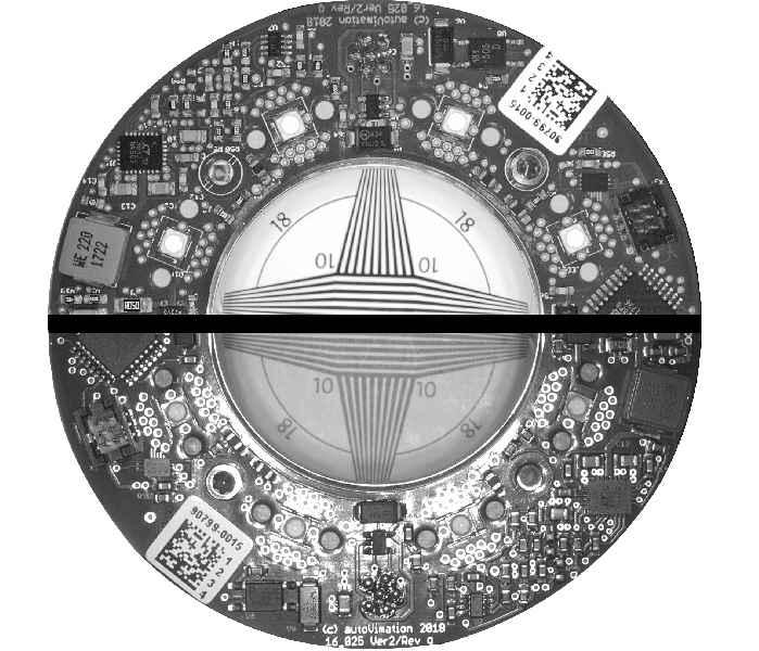 Mit Hilfe gekreuzter Polfilter über Beleuchtung und Objektiv werden Reflexionen bei senkrechtem Auflicht eliminiert. Die obere Bildhälfte wurde mit, die untere ohne Meganova-Polfilter aufgenommen.