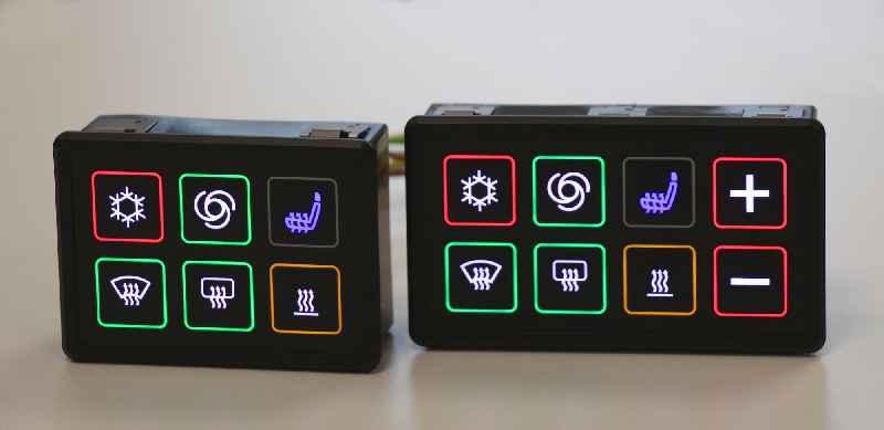 Griessbach bietet die dreifarbige Ringbeleuchtung nun auch für seine CAN-Module mit 8 Schaltflächen an