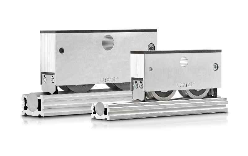 Die ausgesprochen leichtgängigen Radsätze des LOXrail-Fördersystem sind in vielen Varianten für Schienenwellen von 25 und 40mm Durchmesser verfügbar