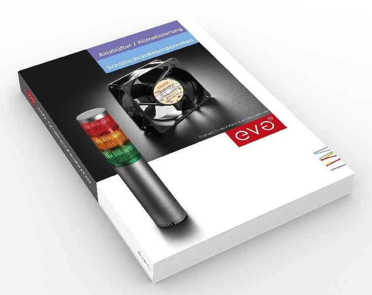 """Jetzt erhältlich: – Der neue Katalog """"Axiallüfter, Klimatisierung und Schaltschrankkomponenten"""" von EVG"""