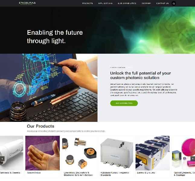 Die neu aufgesetzte Website www.excelitas.com integriert die vielen renommierten Marken des Herstellers, wie Qioptiq, OmniCure, Axsun, X-Cite und REO