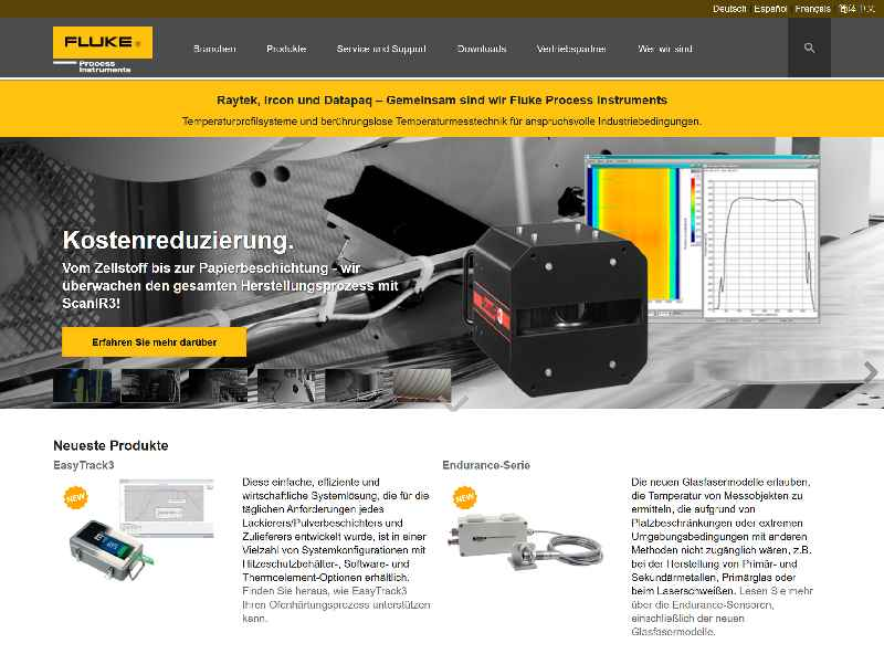 The new website presents infrared sensors, thermal imaging systems, and temperature profilers for industrial process control and quality control