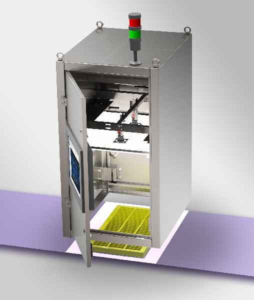 The inspection systems with powerful, tried-and-tested software reliably detect even the smallest chocolate residues (pictured: the basic model)