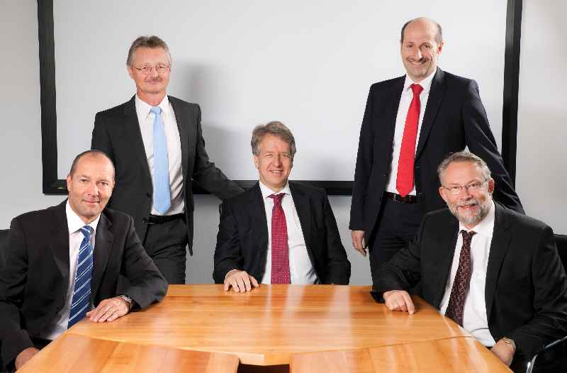 Knick Elektronische Messgeräte's top management (left to right): Gerhard Madl (Vice President Marketing and Sales), Jörg Giebson (Vice President R&D), Marcus Knick (CEO and President), Markus Aschenbrenner (Vice President Operations) and Dr. Dirk Steinmül