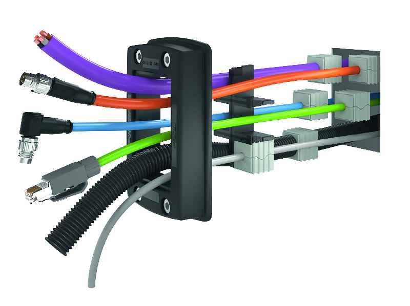 Das Durchführungssystems KDSClick-System mit eingeschäumter Moosgummi-Dichtung zur werkzeuglosen Durchführung von Leitungen, Kabeln und Schläuchen in Schutzart IP66