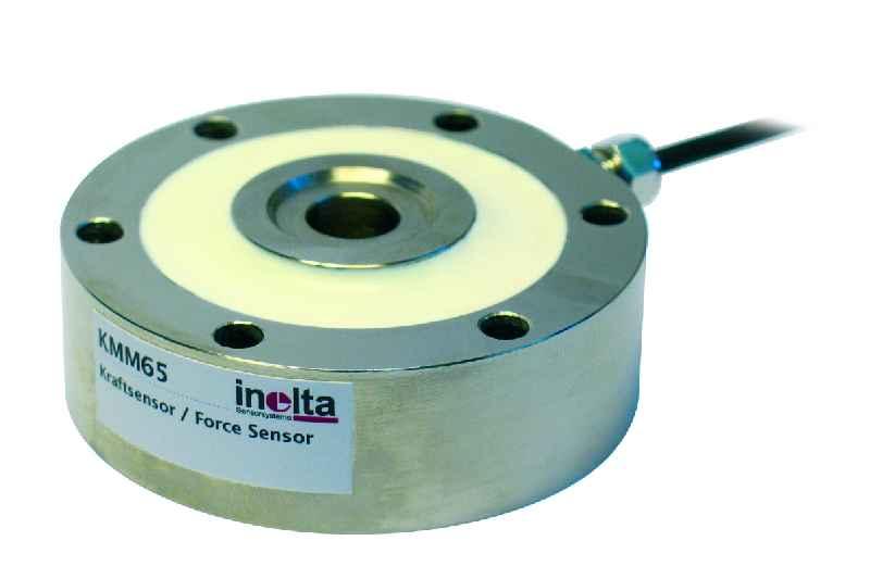 Die Kraftsensoren aus der Baureihe KMM65 von Inelta sind zur Messung von Zug- und Druckkräften zwischen 1kN und 500 kN erhältlich
