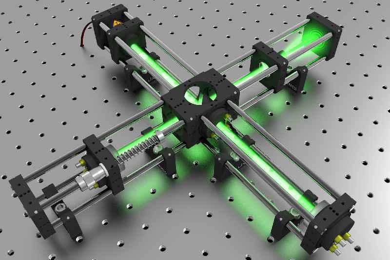 Das hochpräzise optomechanische System umfasst über 200 Komponenten und ermöglicht auch stabile 3D-Aufbauten(abgebildet: Michelson-Interferometer aus Komponenten der LINOS Mikrobank)