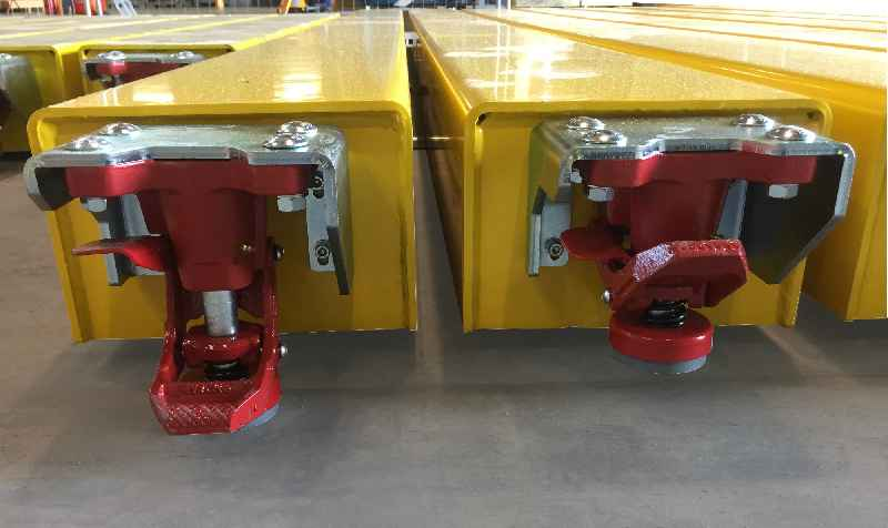 LOXrail stoppers can keep heavy assemblies securely locked in place at various points on the production line