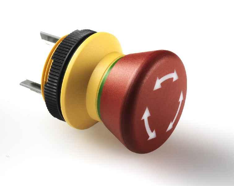 Für beengte Einbausituationen: Der neue Not-Halt-Taster LUMOTAST 22 für 22,3mm-Einbauöffnungen zeichnet sich durch sehr kompakte Abmessungen und geringe Einbautiefe aus.