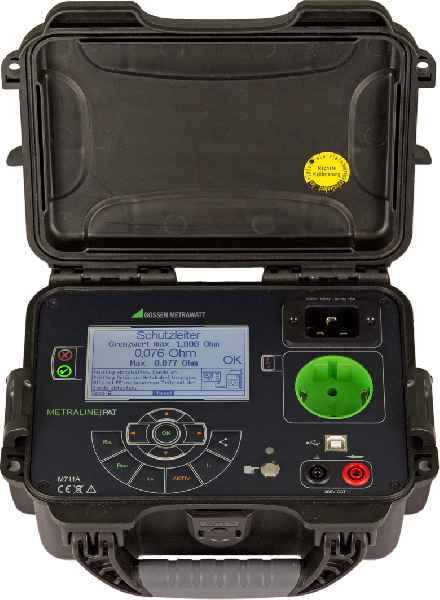 The compact portable METRALINE PAT tester covers all necessary tests for mobile equipment in accordance with DGUV Regulation 3