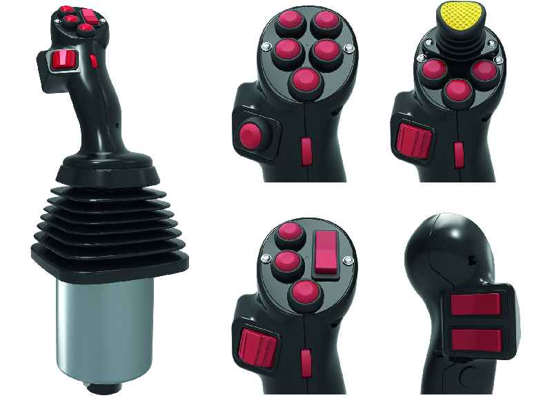 FSG's ergonomic type 2020 industrial joystick with a multifunctional handle is freely customizable for use in mobile machinery as well as in railway and shipping applications