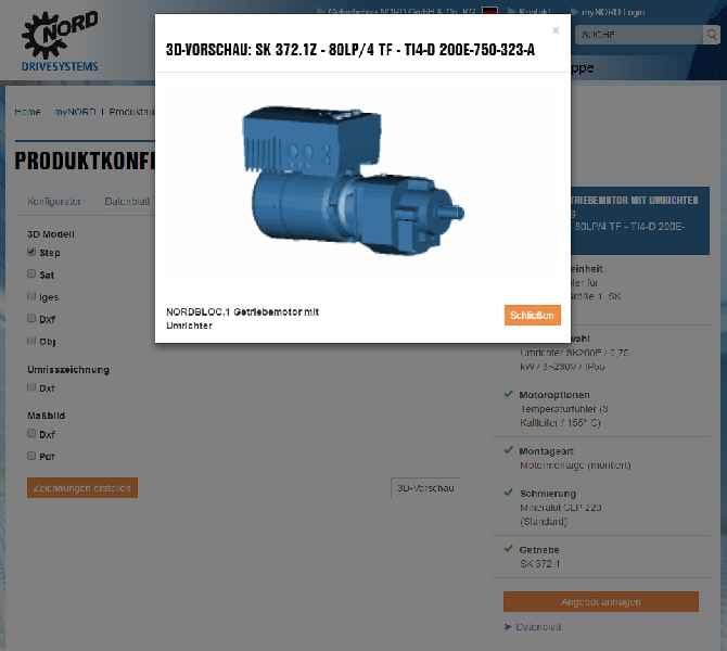 Nach der bedarfsgerechten Antriebskonfiguration liefert das myNORD-Kundenportal 3D-Daten in allen gängigen Formaten und eine Online-Vorschau