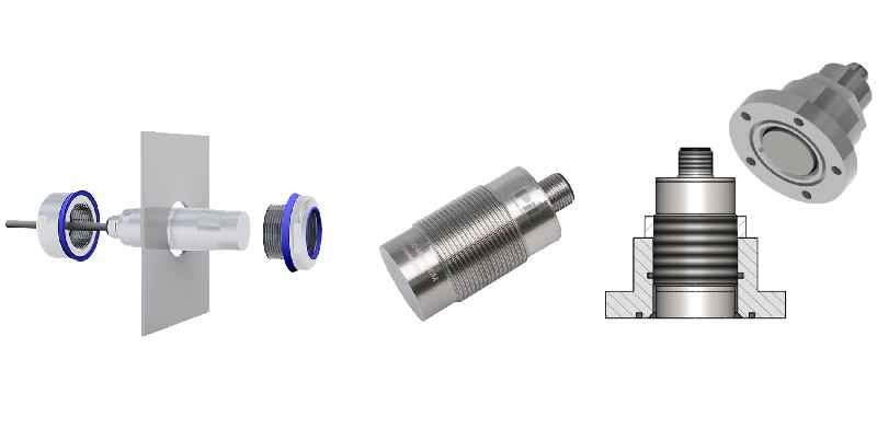 Ultraschall-Füllstandsensoren zum Einschrauben, mit Dichtung oder mit schwingungs- und resonanzfreiem Gehäuse zum einfachen Sensorwechsel erfassen Inhalte und Füllstände in geschlossenen Behältern, ohne Medien zu verunreinigen