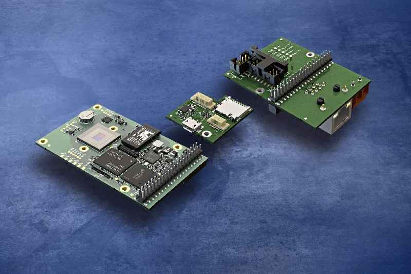 New embedded cameras with a quad-core CPU can be extended by boards featuring SD card slots and various interfaces