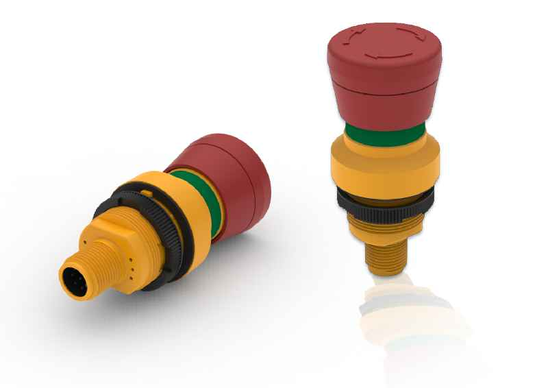 RAMO emergency stop switches feature single-part, fully enclosed housings and assembly-friendly M12 plug terminals