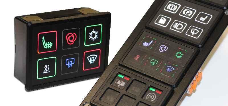 Einbaufertige CAN-Module mit erweiterten Anzeige- und Signaloptionen durch RGB-Hinterleuchtung und umlaufende Ring- oder Segmentbeleuchtung
