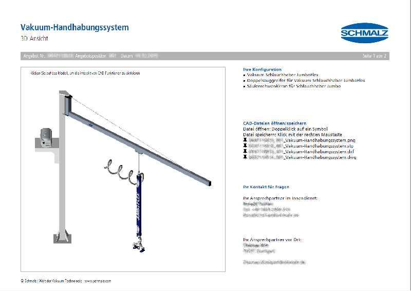 Zum automatisch erstellten Angebot zählen 3D-CAD-Zeichnungen in verschiedenen Dateiformaten für eine bequeme Weiterverarbeitung