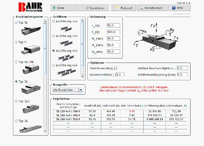 BAHR stellt auf seiner Website ein übersichtliches, leicht bedienbares Programm zur Lebensdauerberechnung von Positioniersystemen bereit