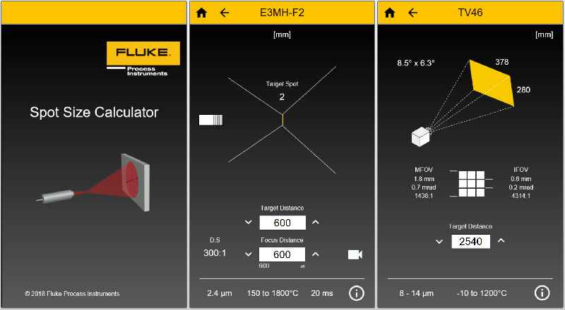 The intuitive app calculates measurement spot sizes for infrared pyrometers depending on the mounting distance