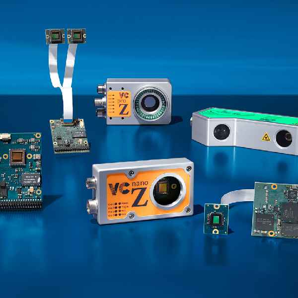 High-speed image processing capabilities are available with board cameras and rugged enclosed models integrating optics and lighting