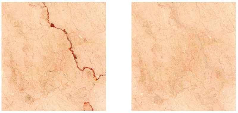 Marmorplatte vor und nach der Oberflächenveredelung mit dem Verfahren der Böhm AG