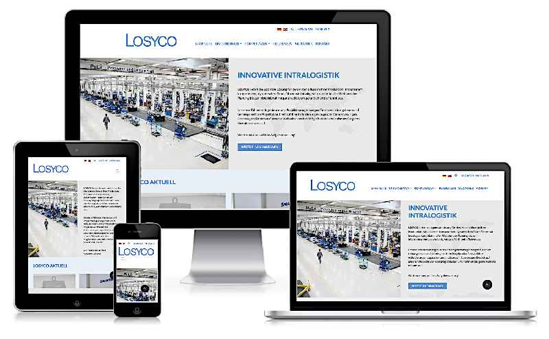 The new website of the intra-logistics expert LOSYCO offers comprehensive information and features a modern look and clear menu navigation