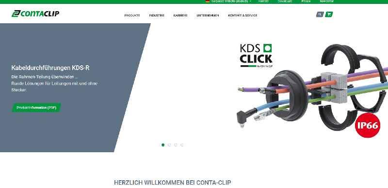 Die neue Website von CONTA-CLICK bietet intuitiven Zugriff auf Produkte, Leistungen und Services des Spezialisten für Verbindungstechnik und Kabelmanagement