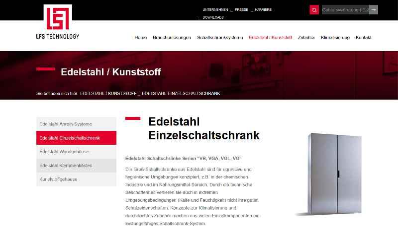 Auf seiner neuen Website präsentiert sich LFS Technology als Komplettanbieter branchen- und kundenspezifisch konfigurierter Gehäusesystemtechnik